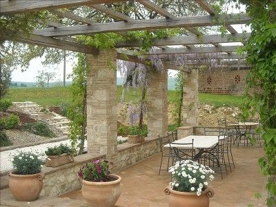 The pergola -- our favorite location next to the bocce ball court.