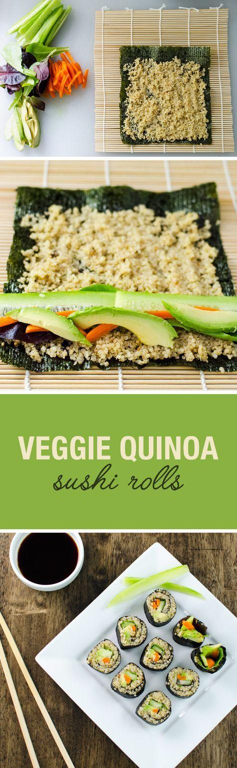 Estos rollos de sushi vegetariano quinua tienen estos ingredientes: 4-5 hojas de nori 1 taza de quinua 2 tazas de agua 1 cdita de jengibre molido ¼ de cdita de sal marina Vinagre de arroz 1 cda 1 cda de miel de agave ½ aguacate ½ pepino mediano ½ taza de zanahorias 1 taza de lechuga romana Reducción de la salsa de soja tamari sodio al gusto
