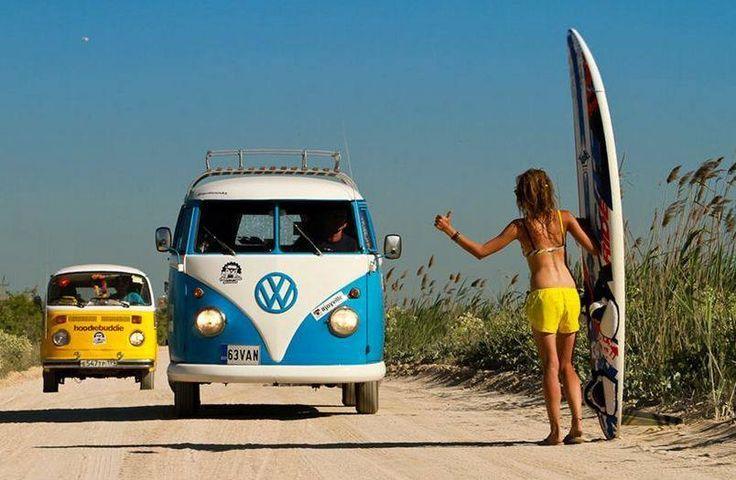 vw bus surfboard hitchhiking ☮See More #VWBus on https://www.pinterest.com/wfpblogs/vw-bus/ ☮