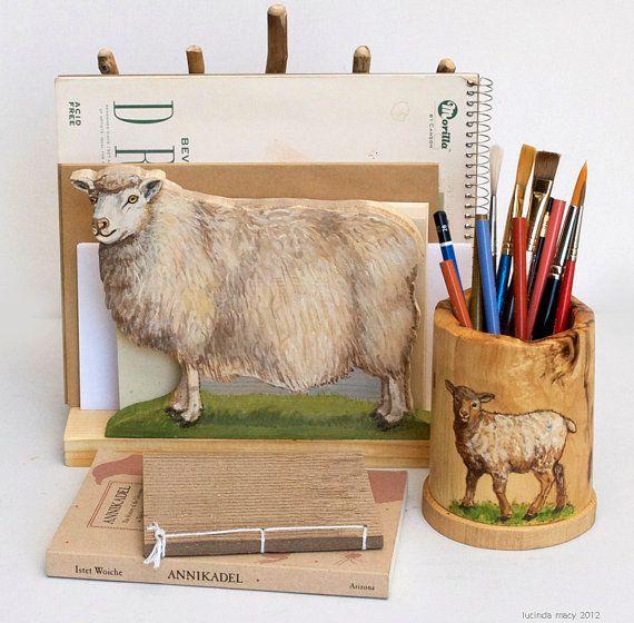 Shetland Sheep Desk Organizer Set. $84.00, via Etsy.