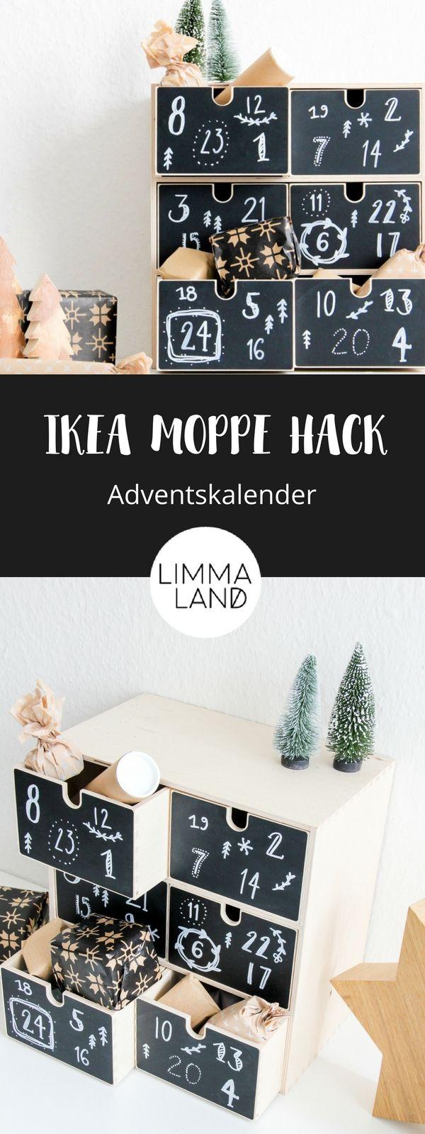Die IKEA MOPPE Kommode lässt sich prima als Adventskalender nutzen und das ist nicht mal viel Arbeit. Die Tafelfolie gibt es passend zugeschnitten und diese kann mit Zahlen verziert werden. Alle Päckchen rein und schon ist der MOPPE Adventskalender fertig. Nach der Adventszeit wird die Tafelfolie einfach neu gestaltet und die MOPPE zur Aufbewahrung genutzt.