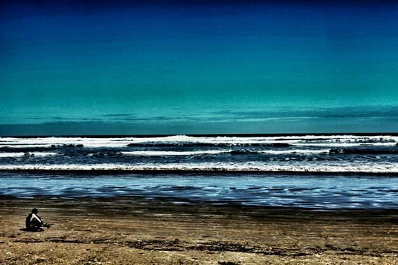 Abstract beach photography, blue and green - aqua ocean.  Boogie boarder sitting on the sand - Made by Gia from $30.00. https://www.facebook.com/madebygia