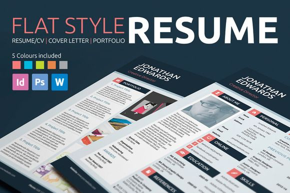 Flat Style Resume by bilmaw creative on Creative Market