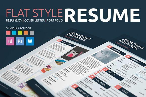 Flat Style Resume/CV   Cover letter   Portfolio   Template