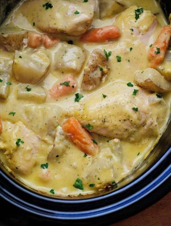 INGREDIENTS     4 boneless skinless chicken breasts   6 medium Russet potatoes, cut into 2-inch pieces   2 cups baby carrots   1 large (23 oz.) can condensed cream of chicken soup   1 (1 oz.) packet dry ranch dressing