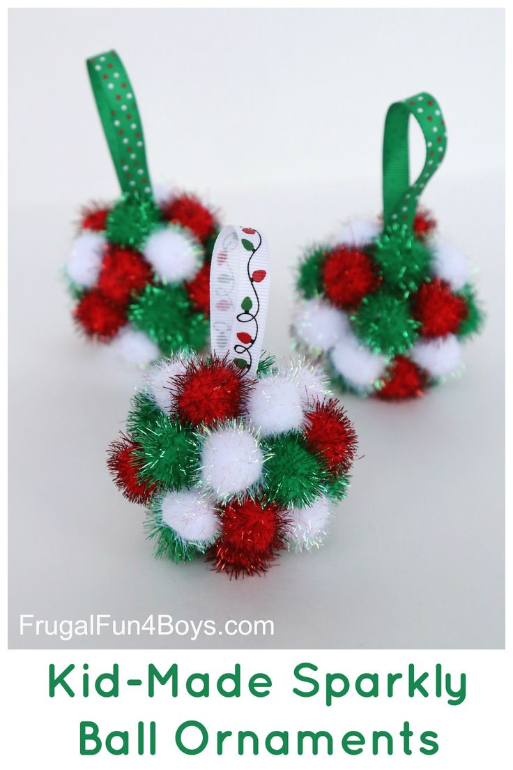 Sparkly Pom Pom Ball Ornaments - preschoolers can glue on the pom pom balls. So cute, and bigger kids would enjoy making these too.
