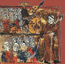 A medieval image of Peter the Hermit, leading knights, soldiers and women toward Jerusalem during the First Crusade