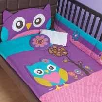 Set De Edredon Para Cuna De Bebe Buho Protector De Barandal