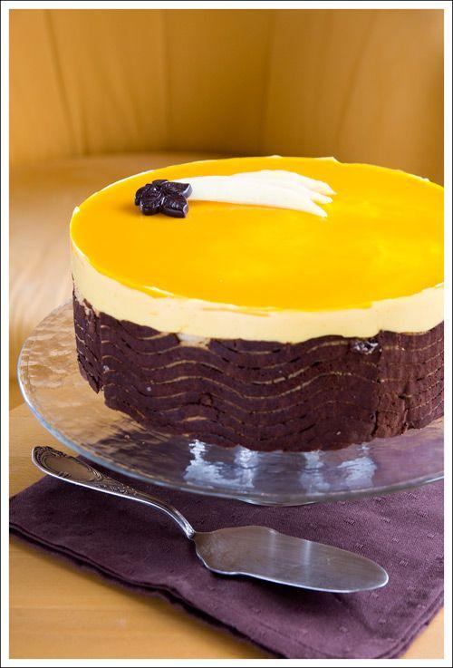 Mango Mirror Glaze;  1 sheet gelatin 20 g sugar 20 ml water 40 g mango puree