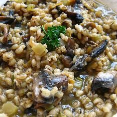 Pearl Barley rissotto    I look forward to re-visiting this on a cooler autumn evening.  Pearl barley in soup gives a lovely, sliky chewiness and of course let us not forget Scotch Broth.