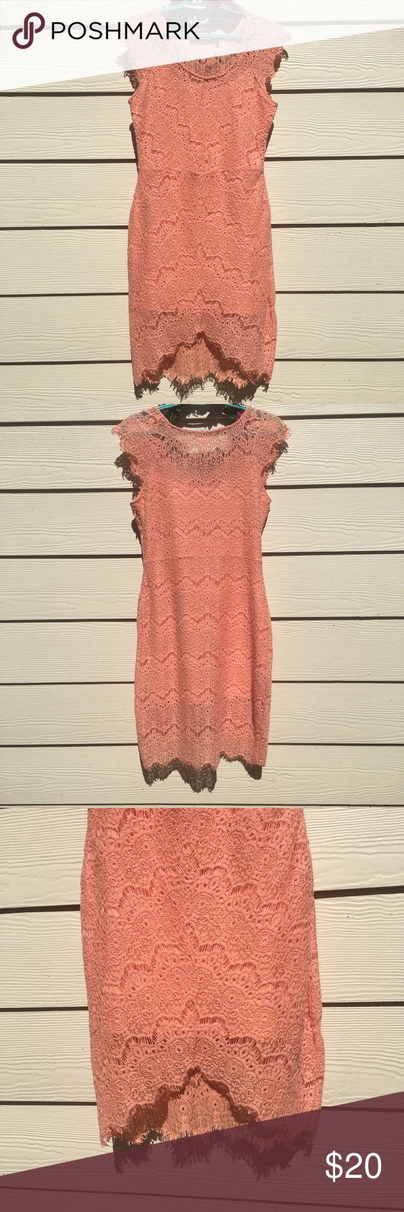 Dulcie Coral Lace Dress W/ Asymmetrical Hem Beautiful coral dress with see through top of back and bottom of dress. Side zipper Dresses Asymmetrical