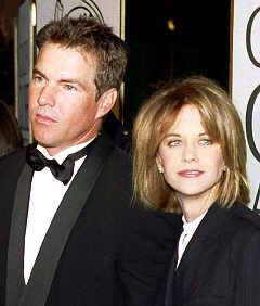 """Dennis Quaid & Meg Ryan. """"Dennis Quaid is furious at ex-wife Meg Ryan for dishing about their divorce while promoting """"The Women."""" Ryan, who plays a scorned wife in her new movie, recently said she wasn't the first to stray when she had her affair with Russell Crowe."""""""