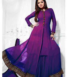 Buy Purple and Black embroidered Georgette semi stitched salwar with dupatta wedding-salwar-kameez online