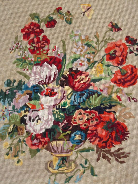Vintage French needlepoint tapestry canvas embroidery by TitaTita