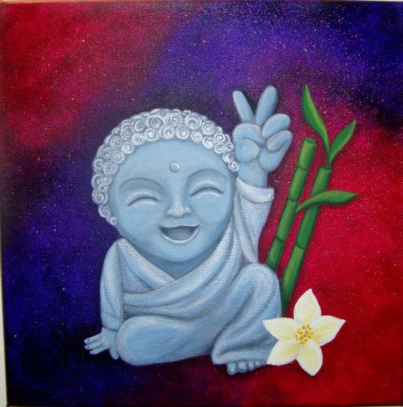 12x12 Canvas Happy Buddha Painting By Amy Wons by ZenCrafters