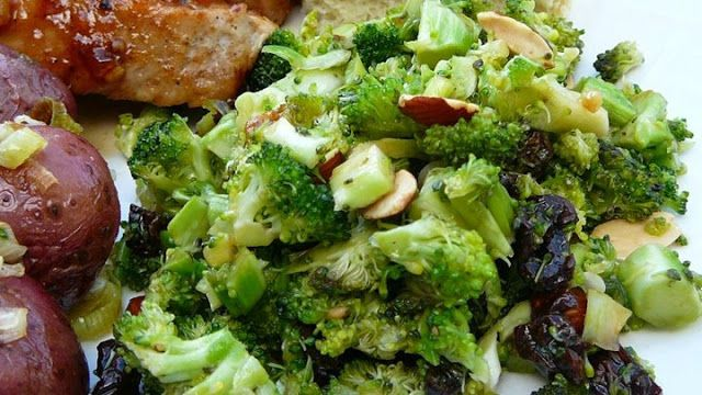 Recipes : Cran-Broccoli Salad | A wonderful festive broccoli slaw salad. Great make ahead recipe and very versatile. This is also good with 1/2 cup of shredded mozzarella cheese mixed in.
