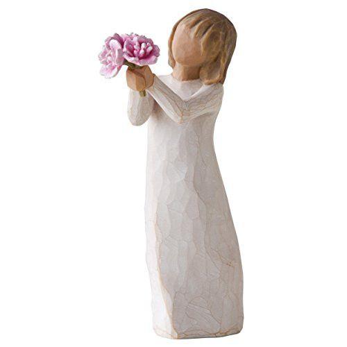 Willow Tree Thank You Girl Holding Pink Peonies Figurine 27267 New Demdaco