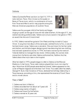 An English language biography of the famous Texan singer Selena Quintanilla. It includes a paragraph each on: her early life, her albums and awards, her marriage, her death and legacy. Includes 5 reading comprehension questions.