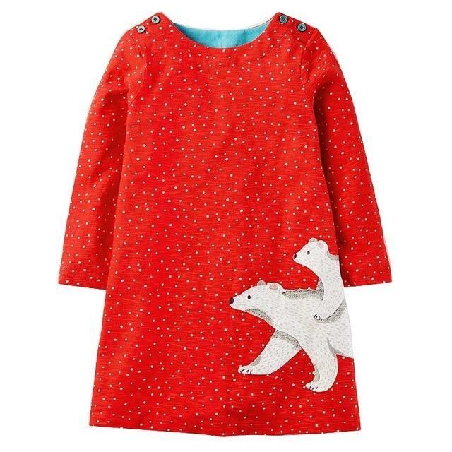 Long Sleeve Girl Dress Princess Kids Tunic Jersey Robe Baby Clothes Children