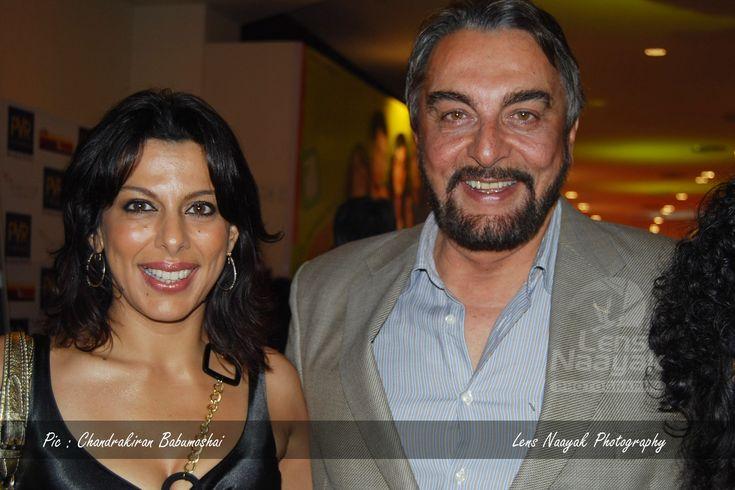 Bollywood Actors Pooja Bedi & Kabir Bedi at the premiere of Ghajini - Lens Naayak Photography.    To create your Bollywood Portfolio, contact Camaal 8169641717