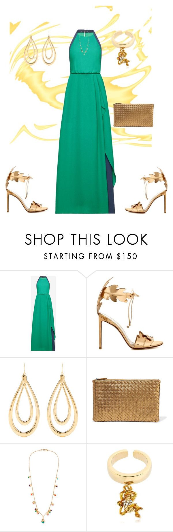 """Green  Dress"" by sukia ❤ liked on Polyvore featuring BCBGMAXAZRIA, Francesco Russo, Aurélie Bidermann, Bottega Veneta and Casadei"