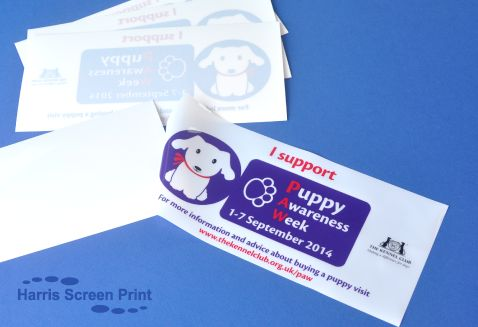 Static Cling car window stickers printed for Puppy Awareness Week 2014