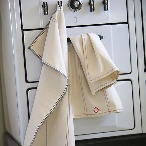Kitchen linens by Sewn in Seattle: Cotton Twill, Kitchens Linens, Cotton Fabrics, Kitchens Dishes, Holidays Entertainment, Raw Materials, Dishes Towels, Materials Design, Classic Dishtowel
