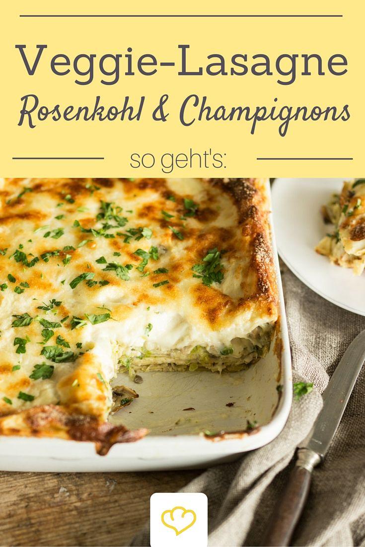 Winterliche Lasagne mit Rosenkohl und Champignons - das perfekte Seelenfutter, wenn es draussen stürmt und ungemütlich ist!