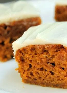 Gluten Free Pumpkin Bars - These are amazing!!! So moist you'll never know they're gluten free.