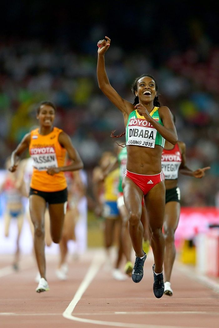 World Athletics Championships 2015: day four – in pictures   Sport   Genzebe Dibaba has plenty of time to celebrate victory before crossing the line to take gold in the women's 1500m