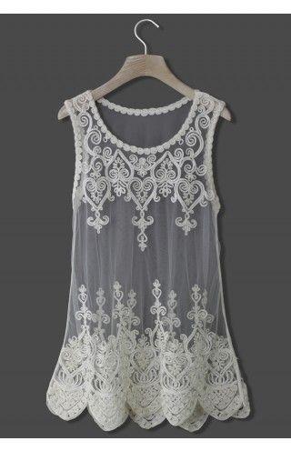 Baroque Embroidery White Mesh Top - Retro, Indie and Unique Fashion