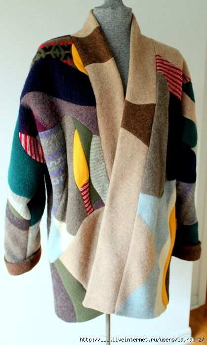 Patchwork by Larisa (Laura Mazur). I made this coat out of old sweaters. First I felted them by washing in hot water in the washer and then made this quilted fabric. Using my own pattern I sewed this coat.