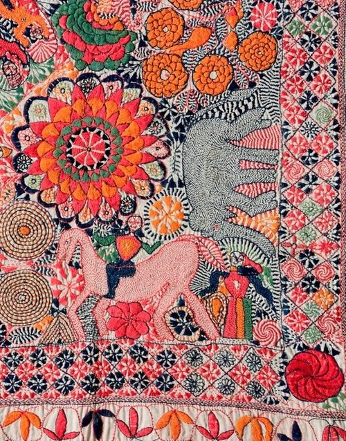 Detail of kantha from Faridpur District, current day Bangladesh, second half of the 19th-century. Via HandEye Magazine.