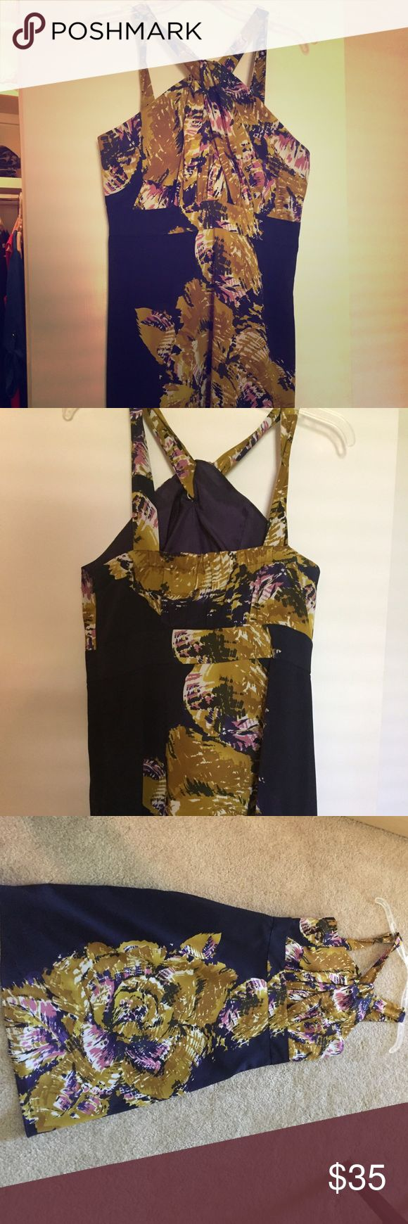 Perfect dress Beautiful halter with purple base and mustard and light pink accents. Hits me right at the knee. Great dress for going out or special occasion. The Limited Dresses Wedding