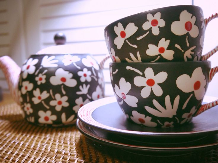 red dot flower  teapot & teacup