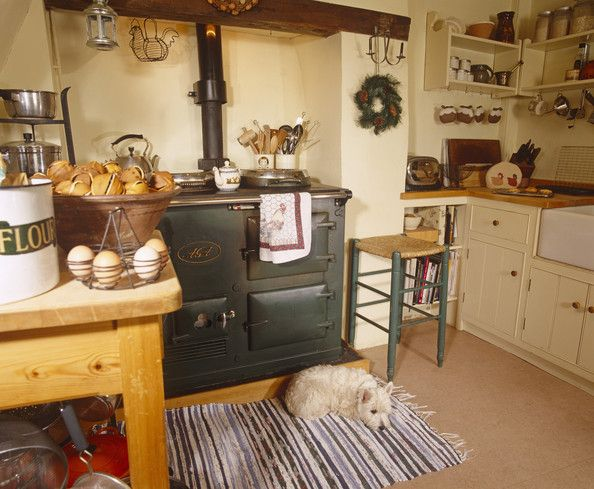 I like a lot of things about this picture....the wood cook stove, the butcher block counters, the farm sink, the open shelving, even the wood island. Hardwood floors or stone floors would be better, with hand braided rugs! SES