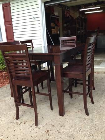 Pub style table  tall  6 chairs  expresso  dark woodThe 25  best Pub style table ideas on Pinterest   Diy pub style  . Pub Style Dining Table With 6 Chairs. Home Design Ideas