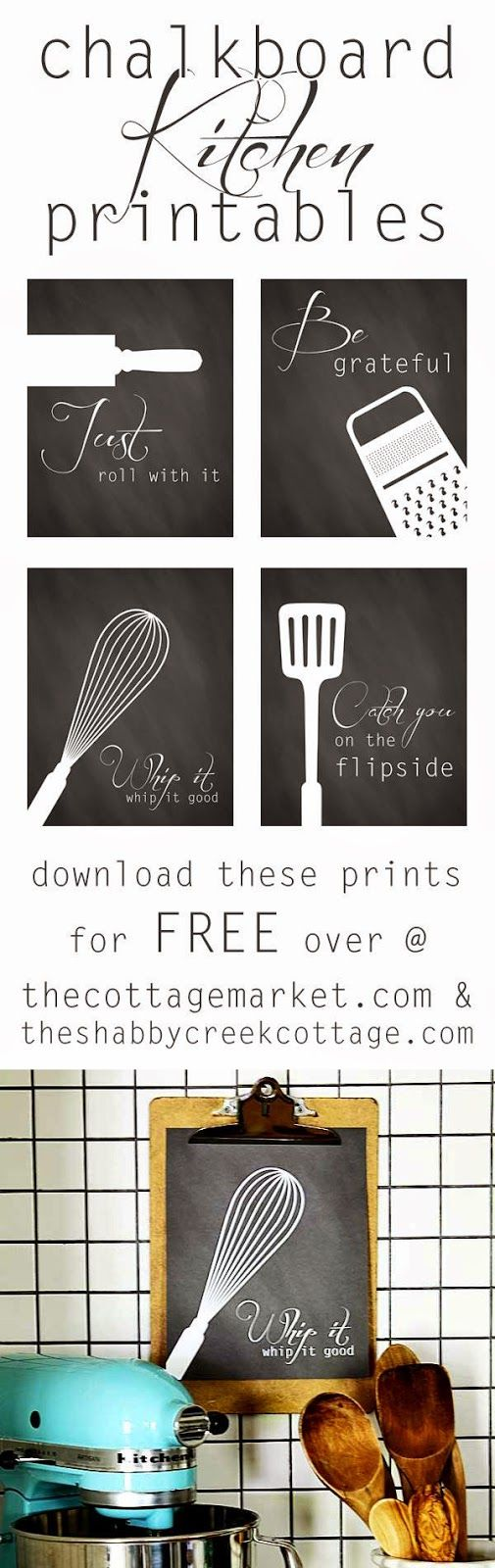 PINNED 87,400 times: a set of four free kitchen art printables