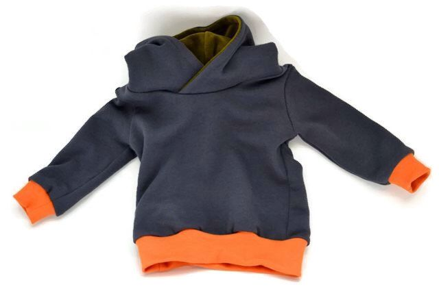 Hoodie organic cotton: gray with green and orange parts. For tough toddlers! by GrasGroen on Etsy https://www.etsy.com/listing/223085778/hoodie-organic-cotton-gray-with-green