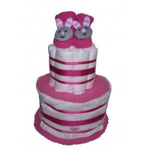 Gâteau de couches pour cadeau naissance et cadeau baby shower expédié en 24h sur www.mybbshowershop.com