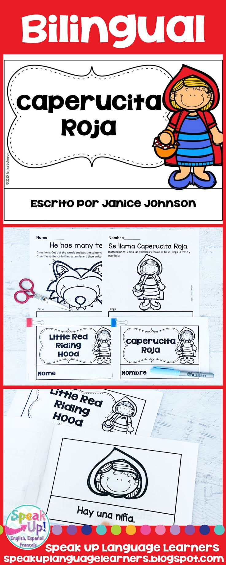 Bilingual Caperucita Roja Simplified Red Riding Hood Spanish reader & Sentence forming pages