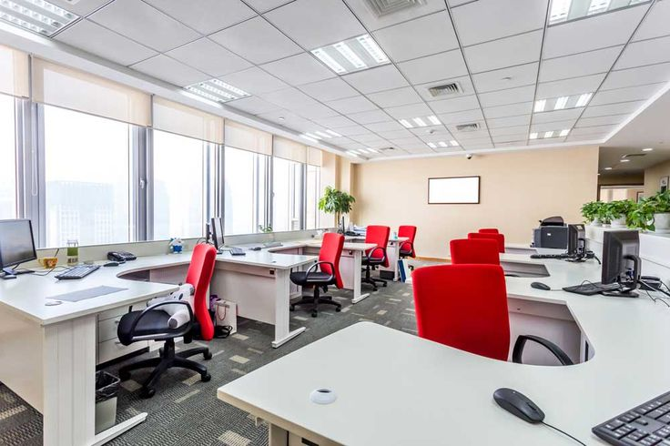 Simple Interior Design of Office with red chair office and white table
