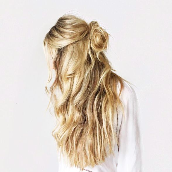 #longhairstyle Half up, half down hair. Long and wavy