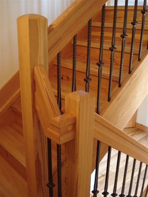 Great stairs in a timber frame home