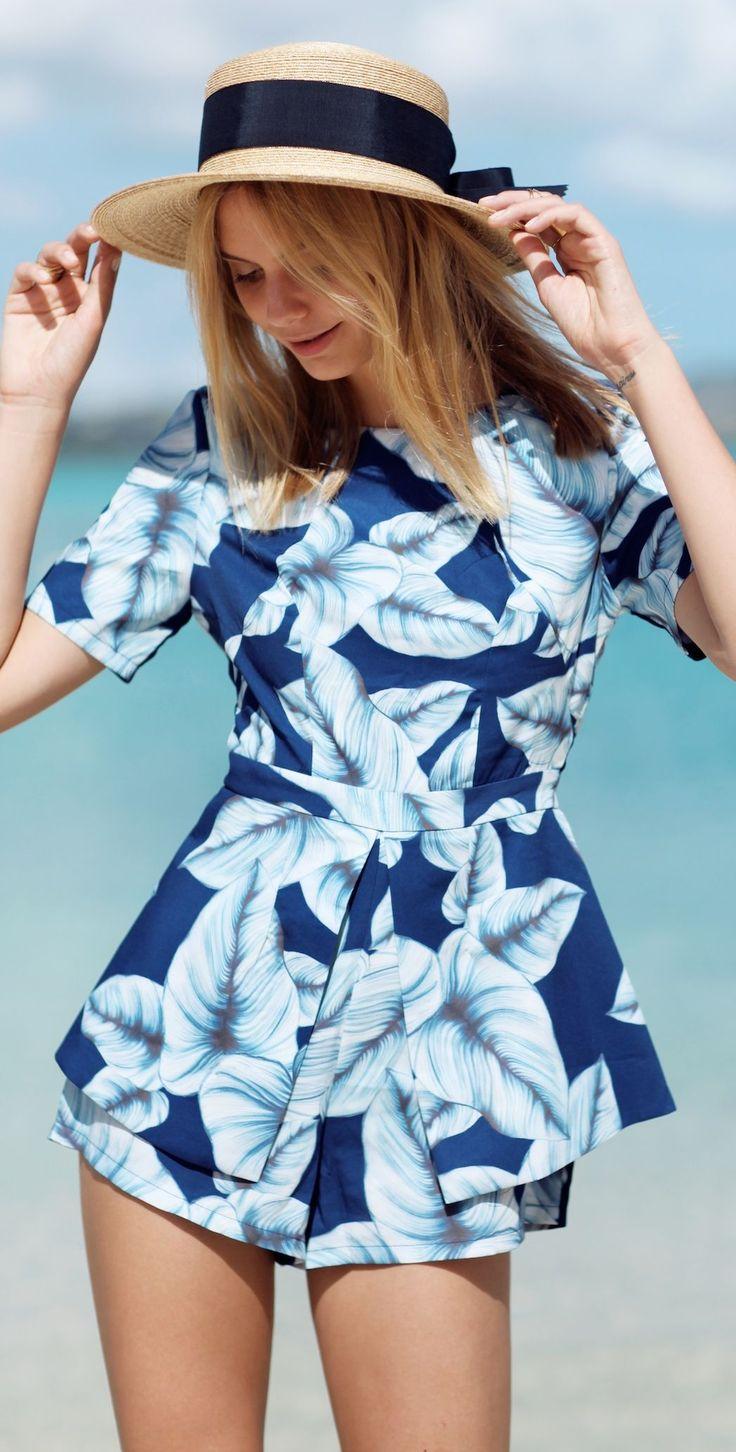 Angel Biba Multi Blue Wide Floral Taylor Playsuit                                                                             Source