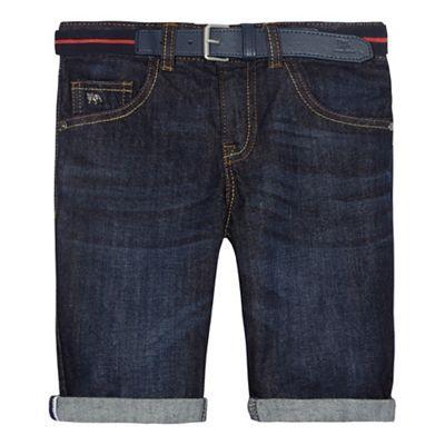 J by Jasper Conran Boys' dark blue belted denim shorts | Debenhams
