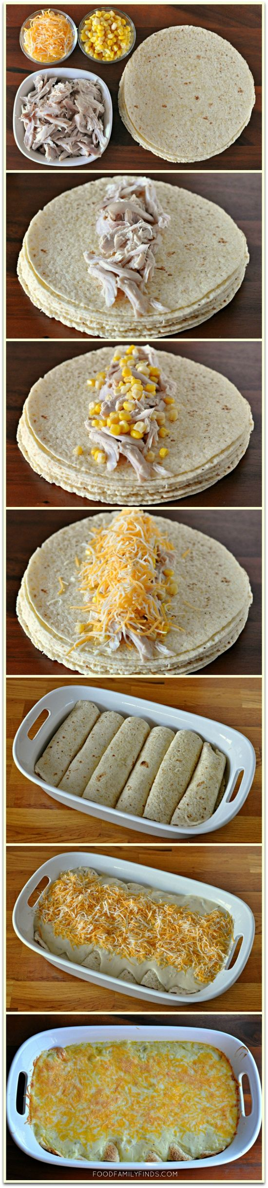 Easy and Creamy White Chicken Enchiladas    6-8 corn tortillas (enchilada size)  1 pre-cooked plain rotisserie chicken, shredded  1 cup sweet corn  4 cups shredded Mexican blend cheese, divided in half     Sauce:  3 tablespoons butter  3 tablespoons all purpose flour  1-1/4 cups chicken broth  1 - 10oz can cream of chicken soup  1 cup sour cream  1 - 4oz can chopped green chiles  1/4 teaspoon ground black pepper  1/4 teaspoon sea salt  Oven @ 350, 25-30 min