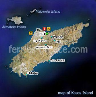 ☼ Grecia Greece ☼Kasos Island dodecanese Mapa de Kasos en Dodecaneso, Islas Griegas, Grecia