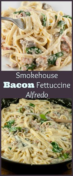 Easy Italian Smokehouse Bacon Fettuccine Alfredo recipe is made in less than 30 minutes and is all the flavors of a creamy, smokey Alfredo sauce and crispy bacon!
