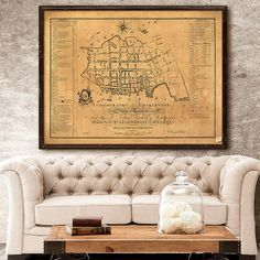 """Charleston map (1788) Old map of Charleston, SC, 4 sizes up to 48x36"""" (120x90cm) Historical street map of Charleston, also in white, or blue"""